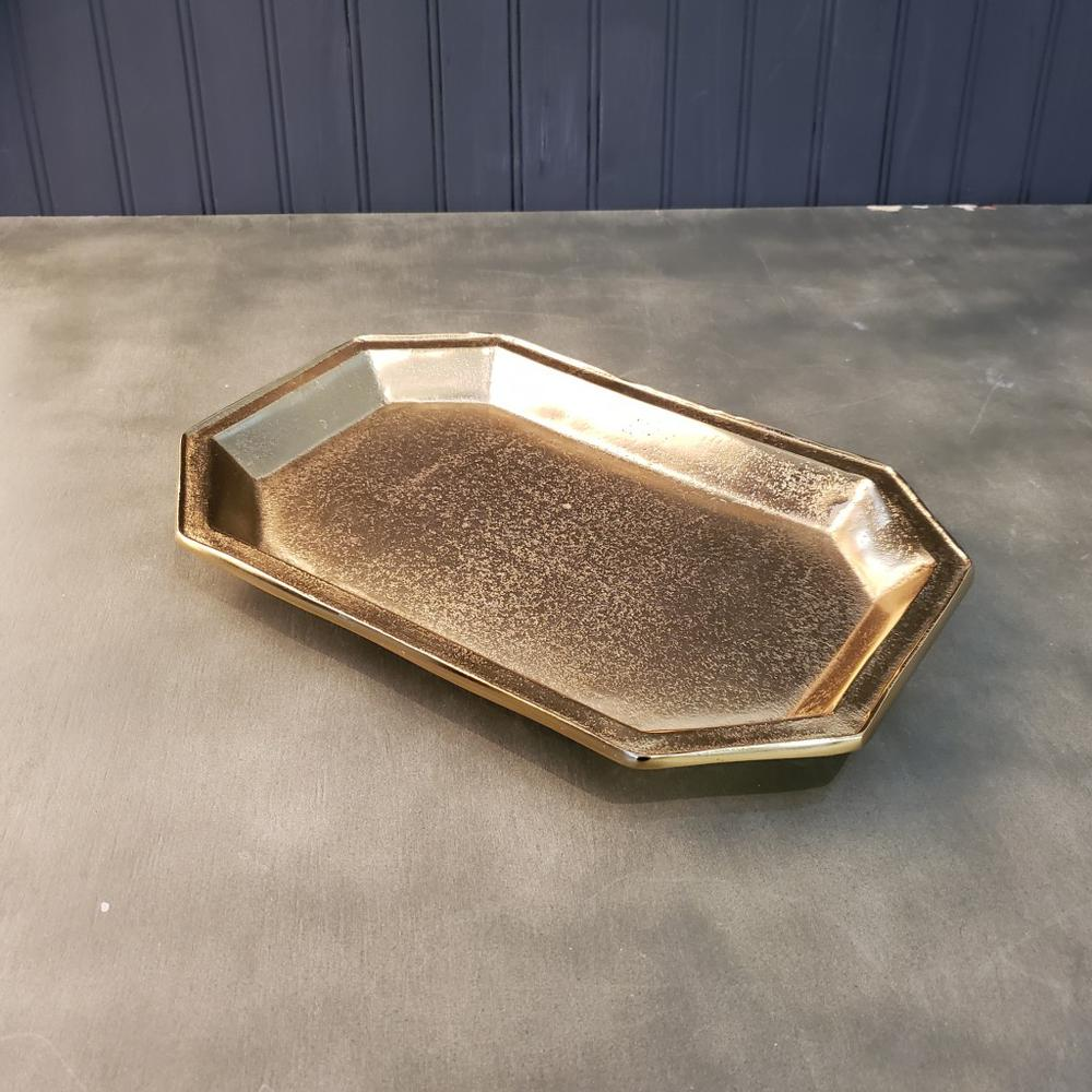 Gilded Gold Finish Textured Serving Tray - 384105. Picture 2