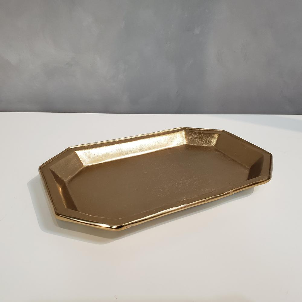 Gilded Gold Finish Textured Serving Tray - 384105. Picture 3