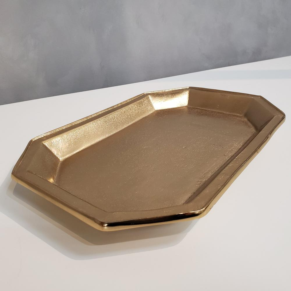 Gilded Gold Finish Textured Serving Tray - 384105. Picture 4