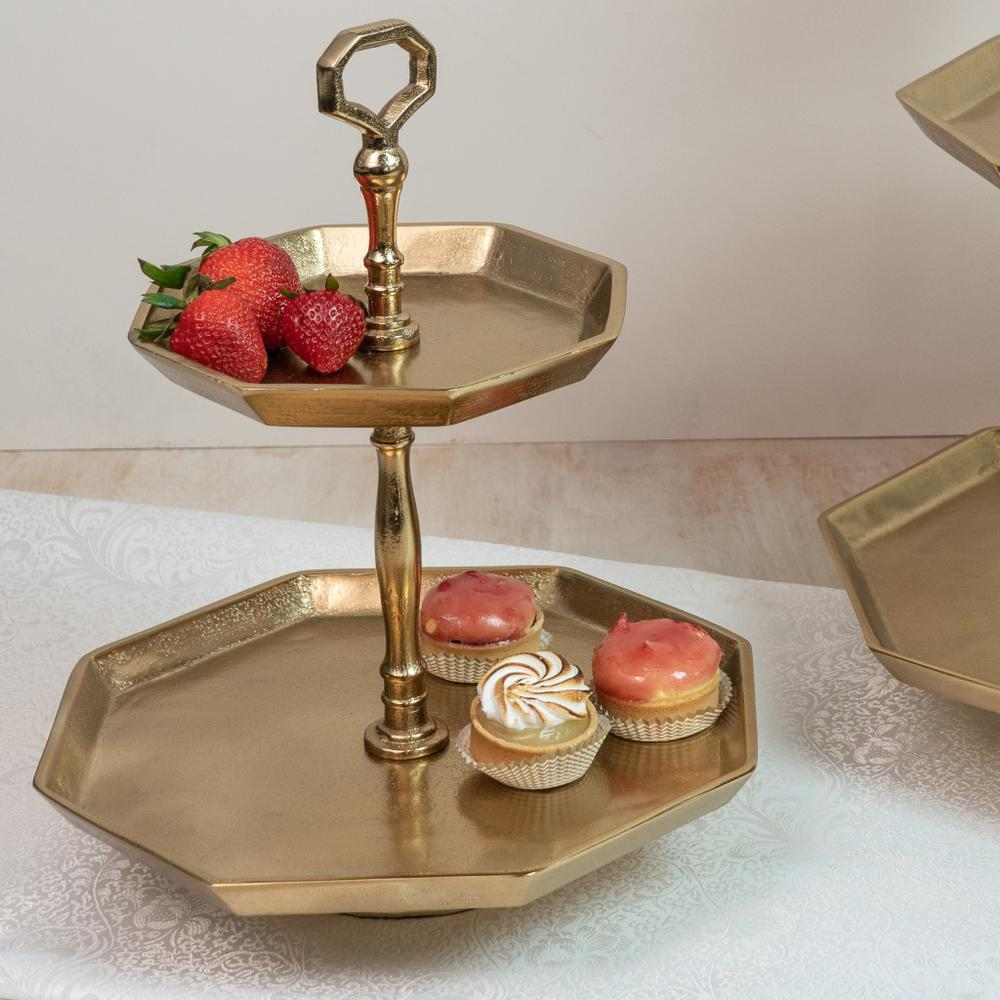 Vintage Look Octagonal Gold Two Tier Server - 384106. Picture 1