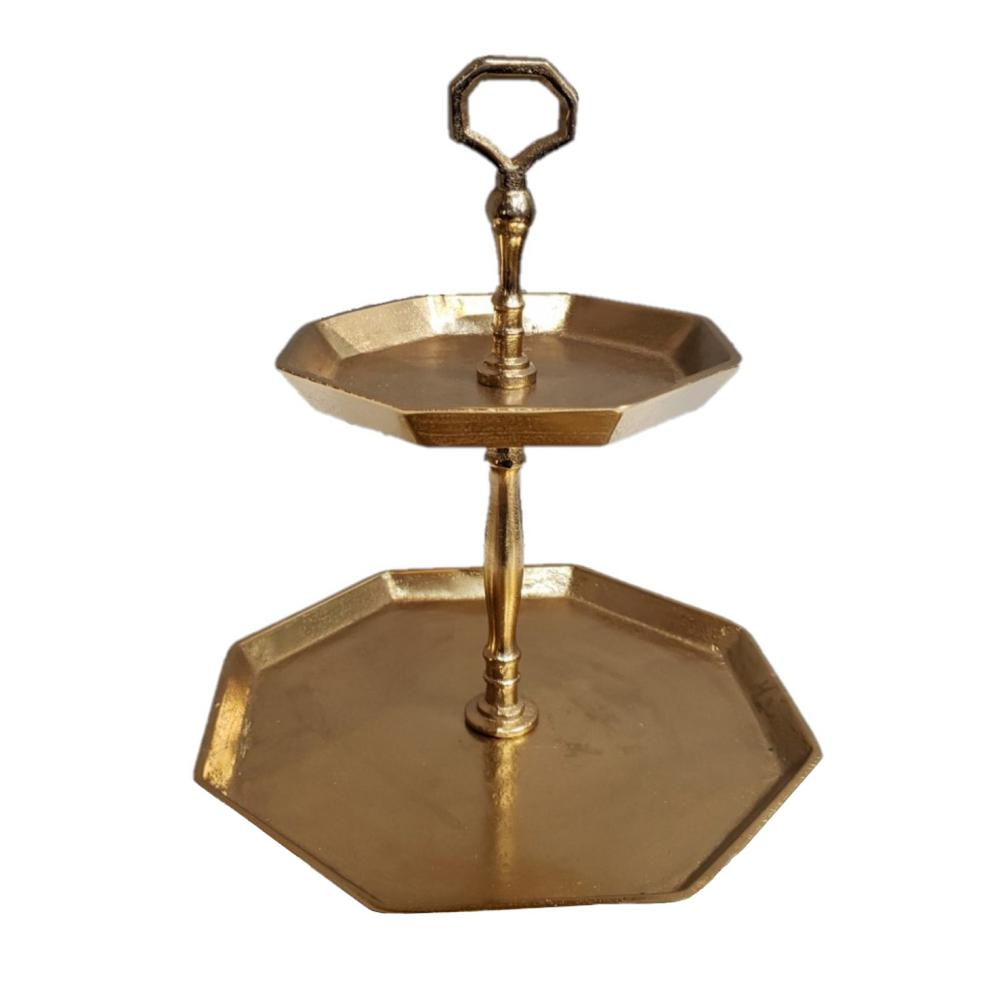 Vintage Look Octagonal Gold Two Tier Server - 384106. Picture 2