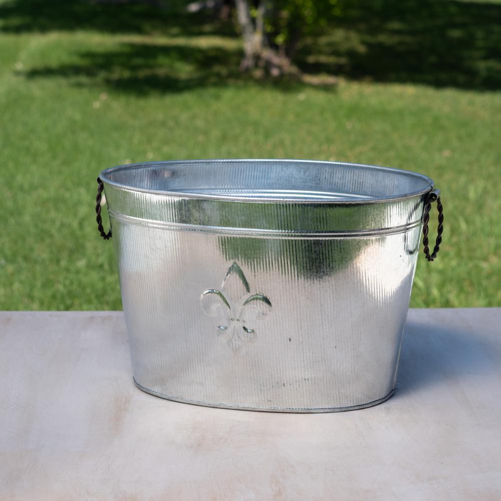 Oval Silver Ribbed Fleur de Lis Beverage Tub - 384108. Picture 1