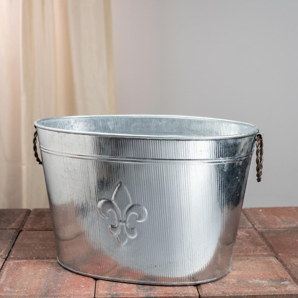 Oval Silver Ribbed Fleur de Lis Beverage Tub - 384108. Picture 2