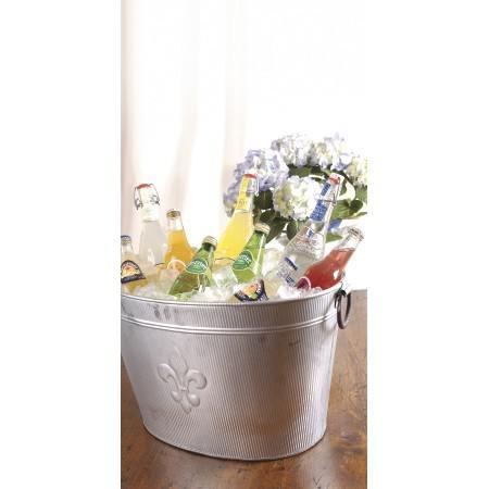Oval Silver Ribbed Fleur de Lis Beverage Tub - 384108. Picture 3