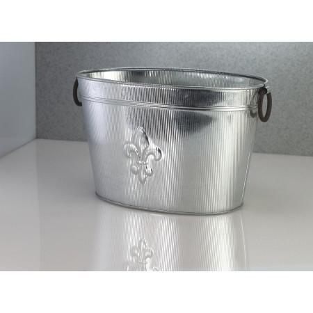 Oval Silver Ribbed Fleur de Lis Beverage Tub - 384108. Picture 4