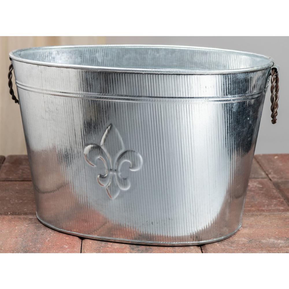 Oval Silver Ribbed Fleur de Lis Beverage Tub - 384108. Picture 5