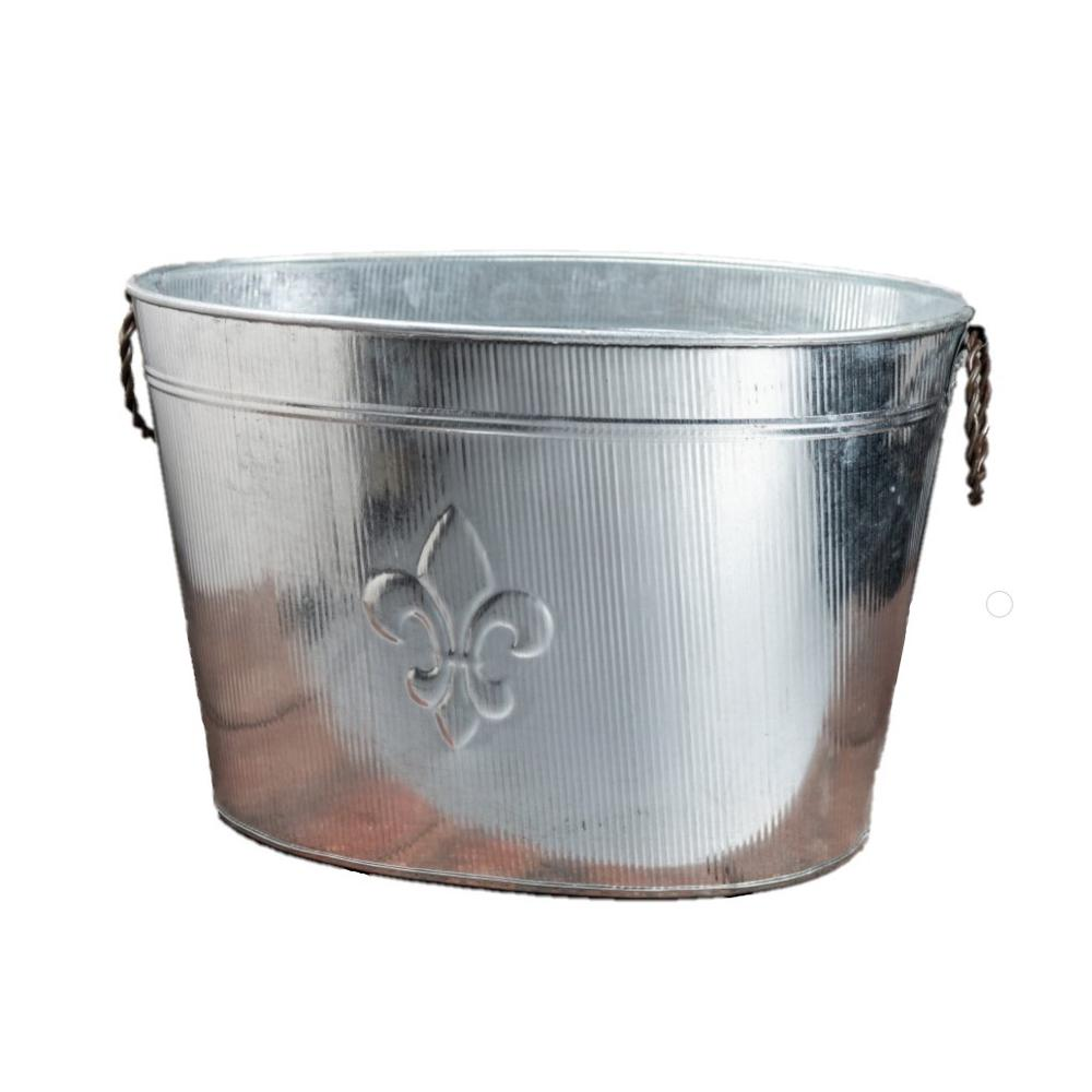 Oval Silver Ribbed Fleur de Lis Beverage Tub - 384108. Picture 6