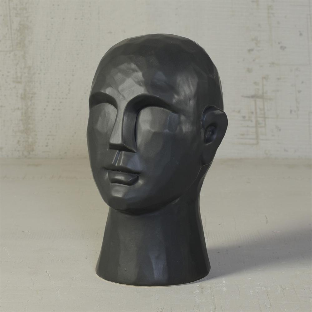 "11"" Matte Black Ceramic  Bust Decorative Sculpture - 384110. Picture 2"