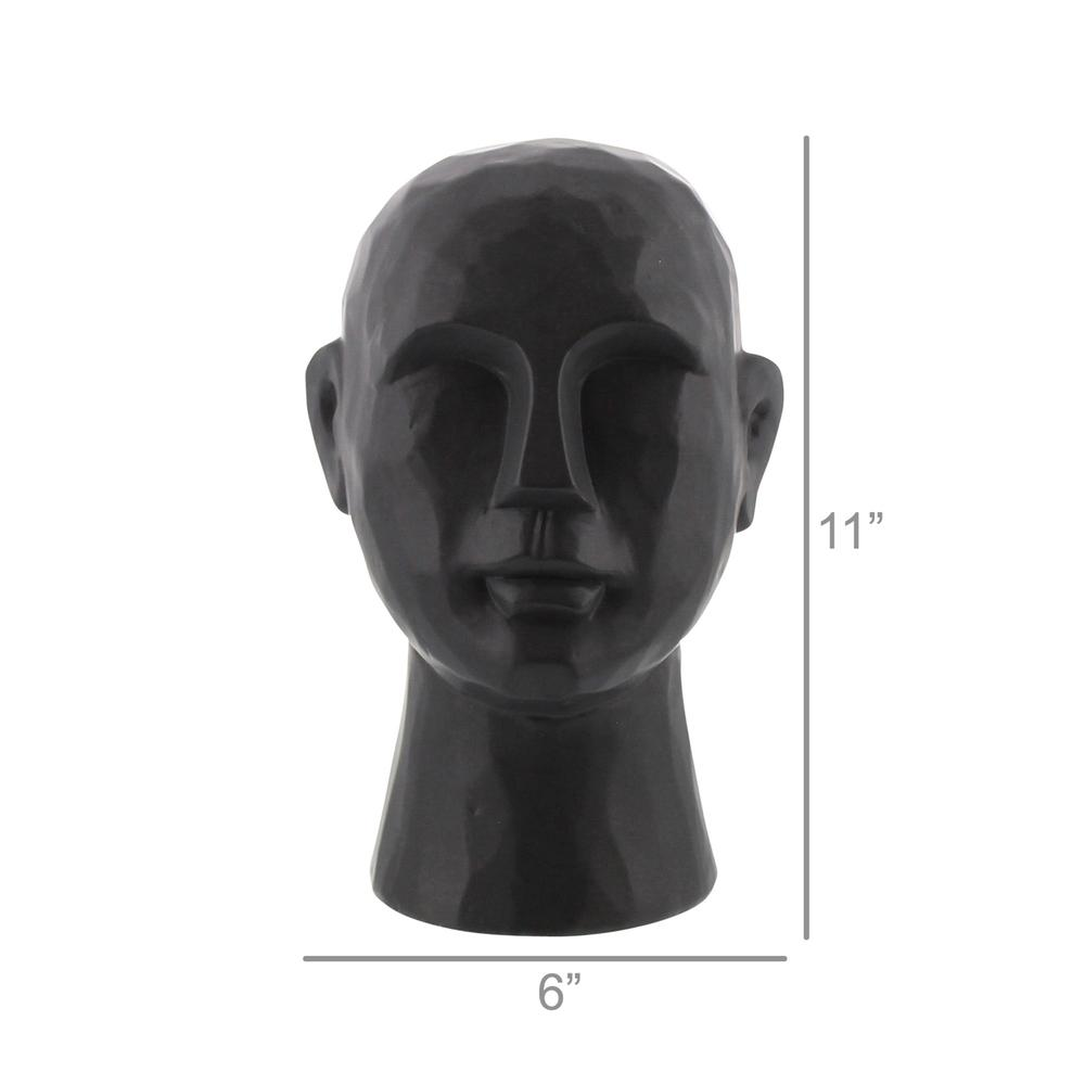 "11"" Matte Black Ceramic  Bust Decorative Sculpture - 384110. Picture 3"