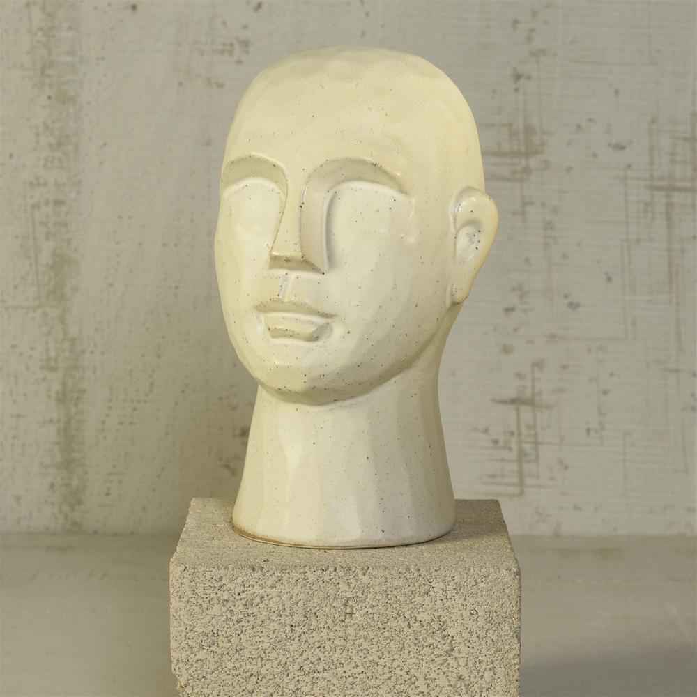 "11"" Matte White Ceramic Bust Decorative Sculpture - 384112. Picture 3"