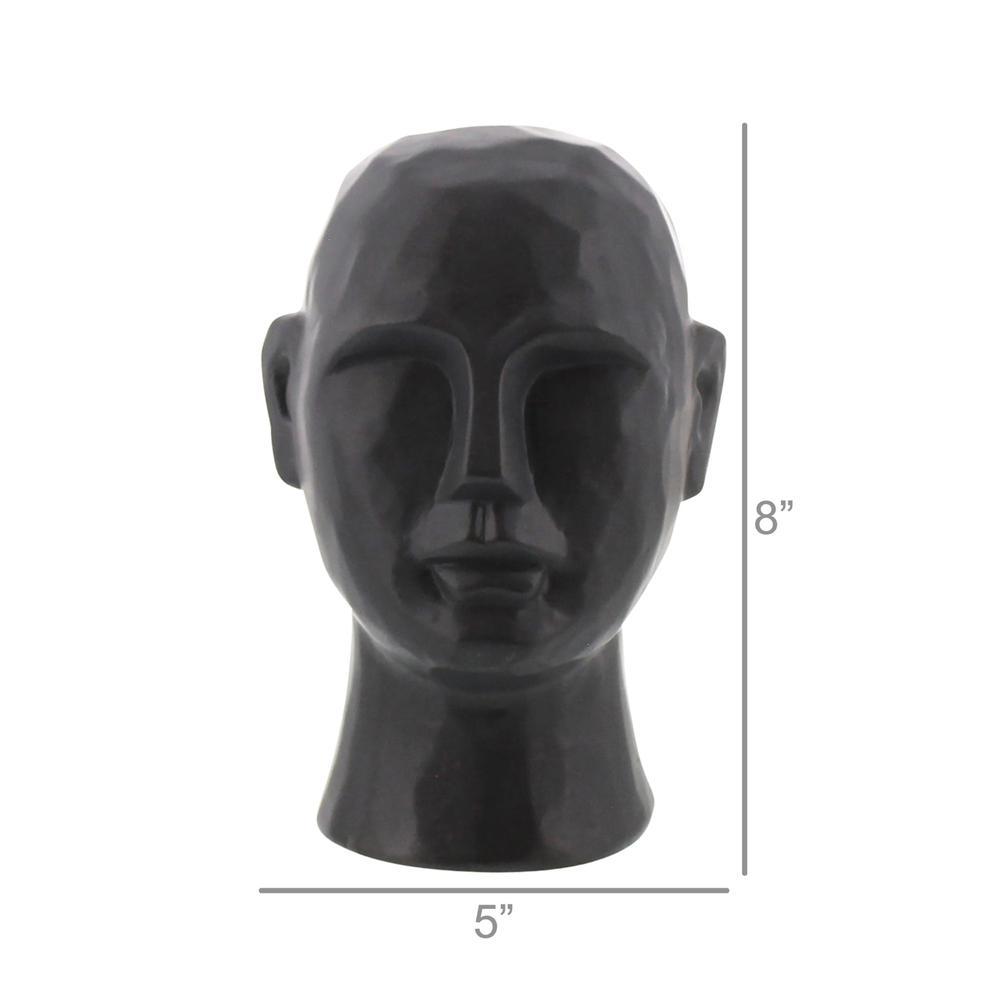 "8"" Matte Black Ceramic  Bust Decorative Sculpture - 384113. Picture 2"