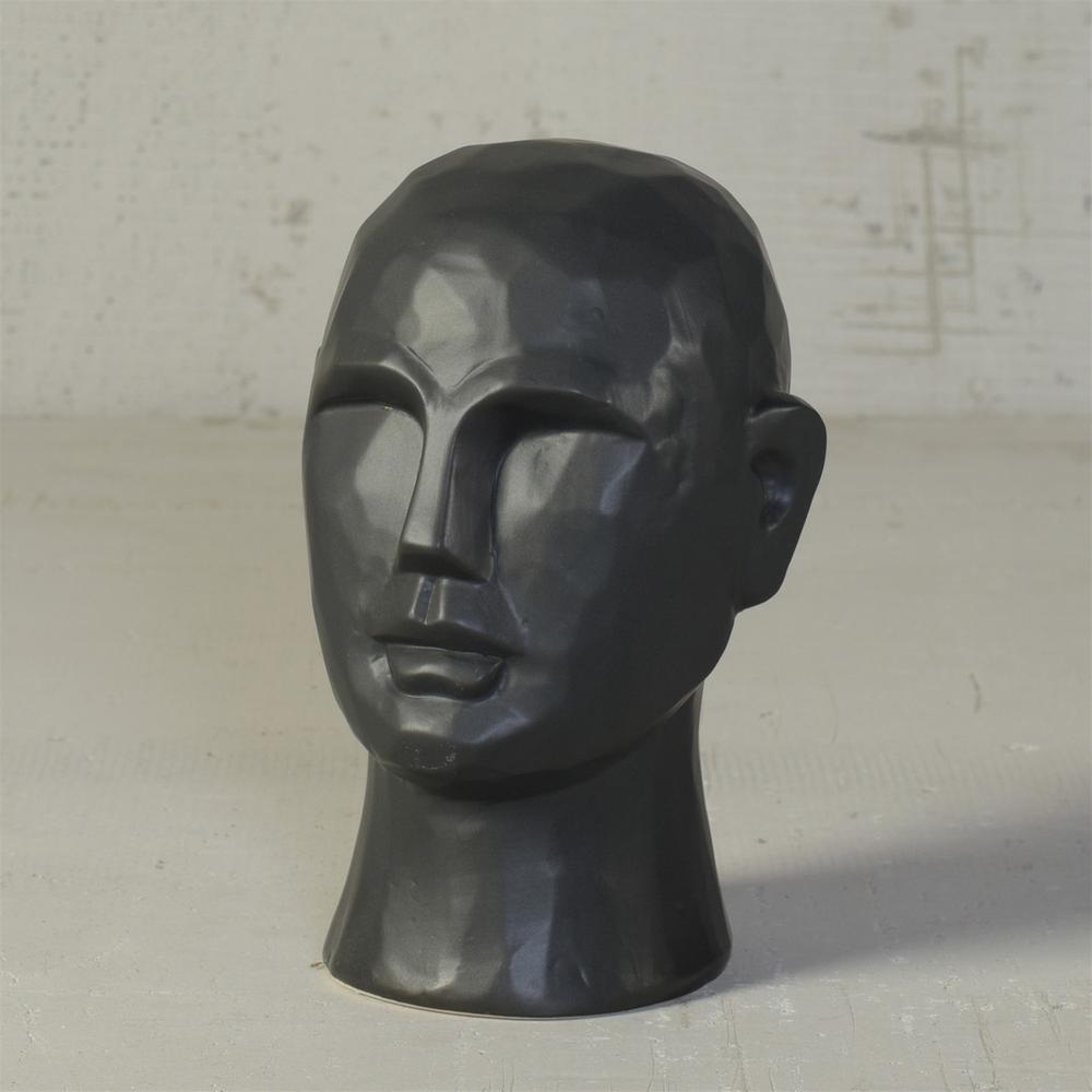 "8"" Matte Black Ceramic  Bust Decorative Sculpture - 384113. Picture 3"
