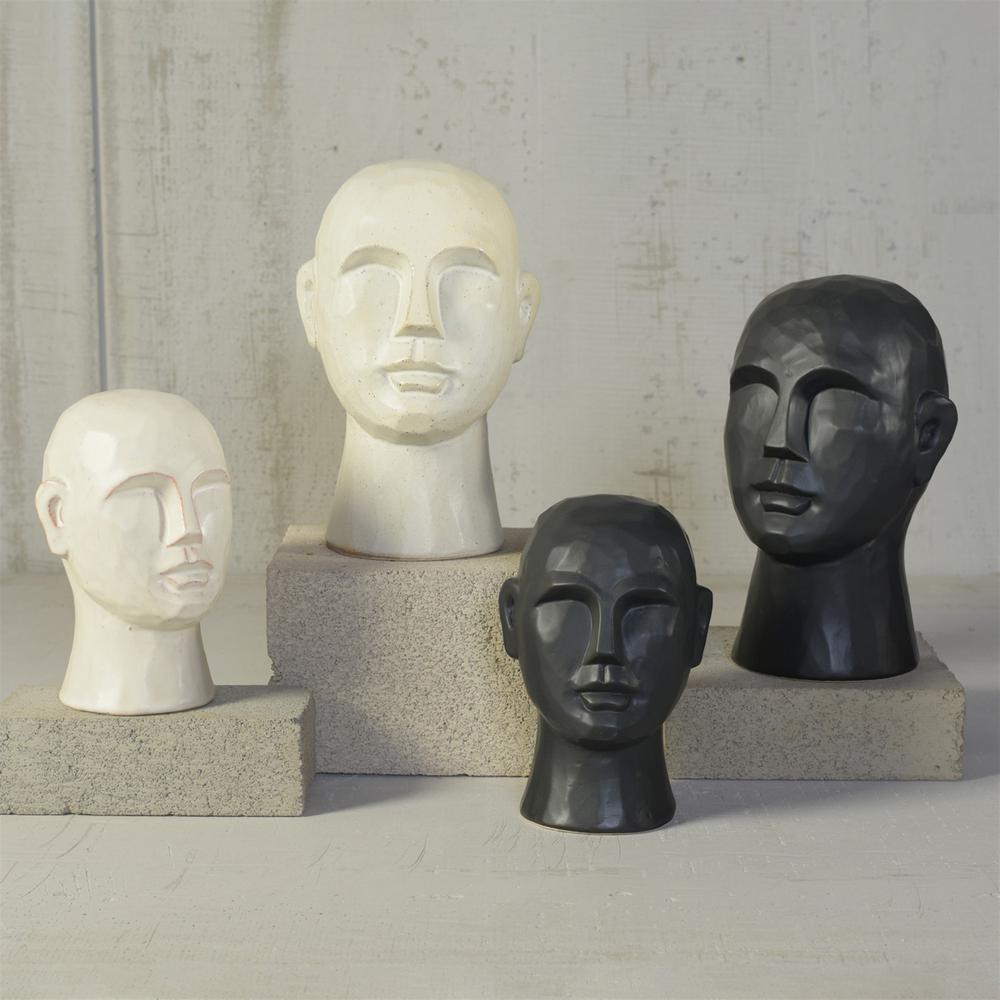 "8"" Matte Black Ceramic  Bust Decorative Sculpture - 384113. Picture 4"