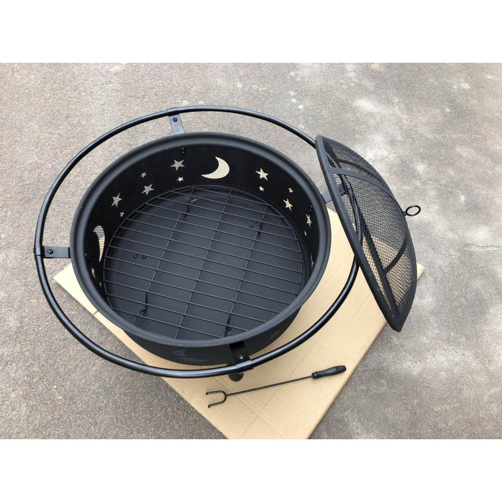 """30"""" Wood Burning Fire Pit with Charcoal Grill and Screen - 384130. Picture 4"""
