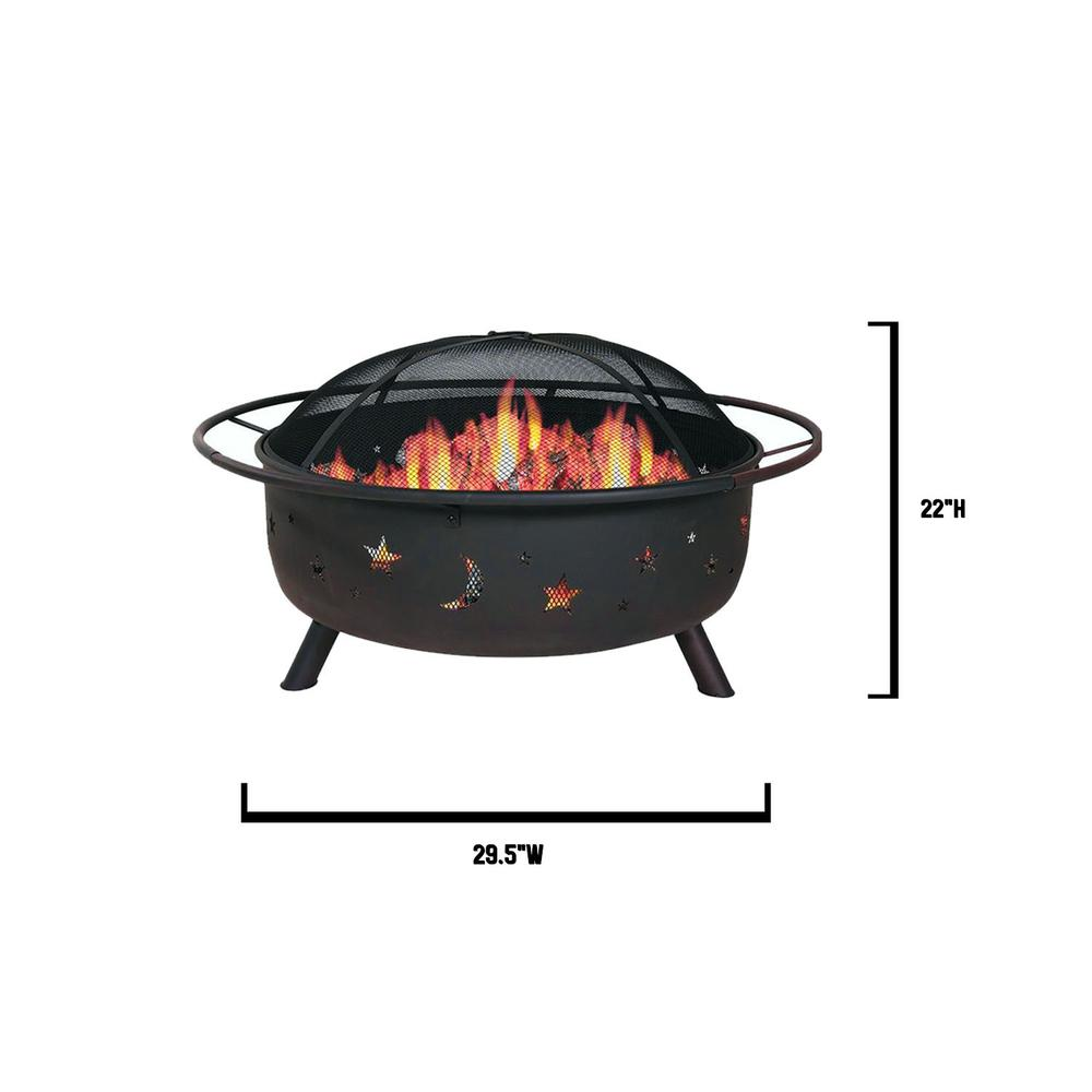 """30"""" Wood Burning Fire Pit with Charcoal Grill and Screen - 384130. Picture 5"""