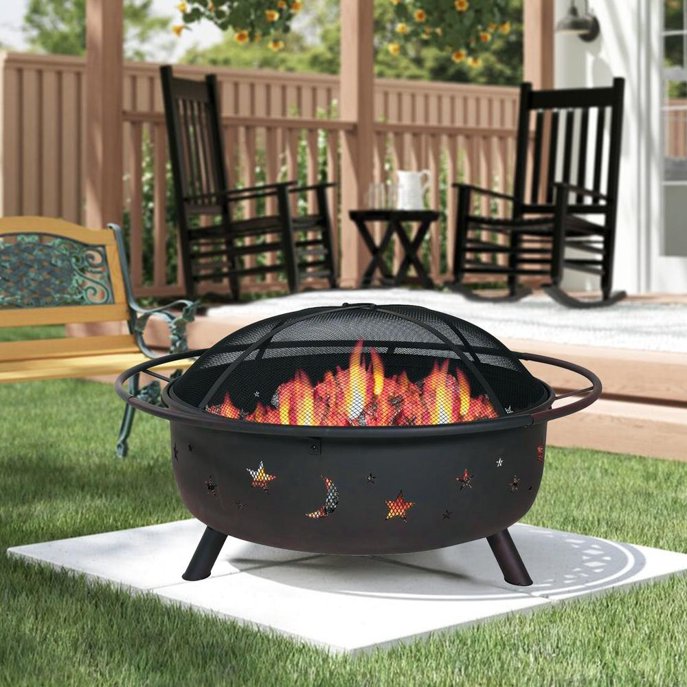 """30"""" Wood Burning Fire Pit with Charcoal Grill and Screen - 384130. Picture 6"""