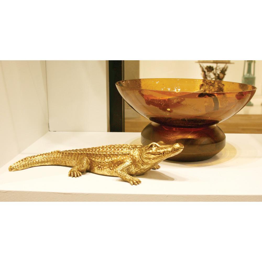 Golden Crocodile Brass Finish Sculpture - 384167. Picture 3