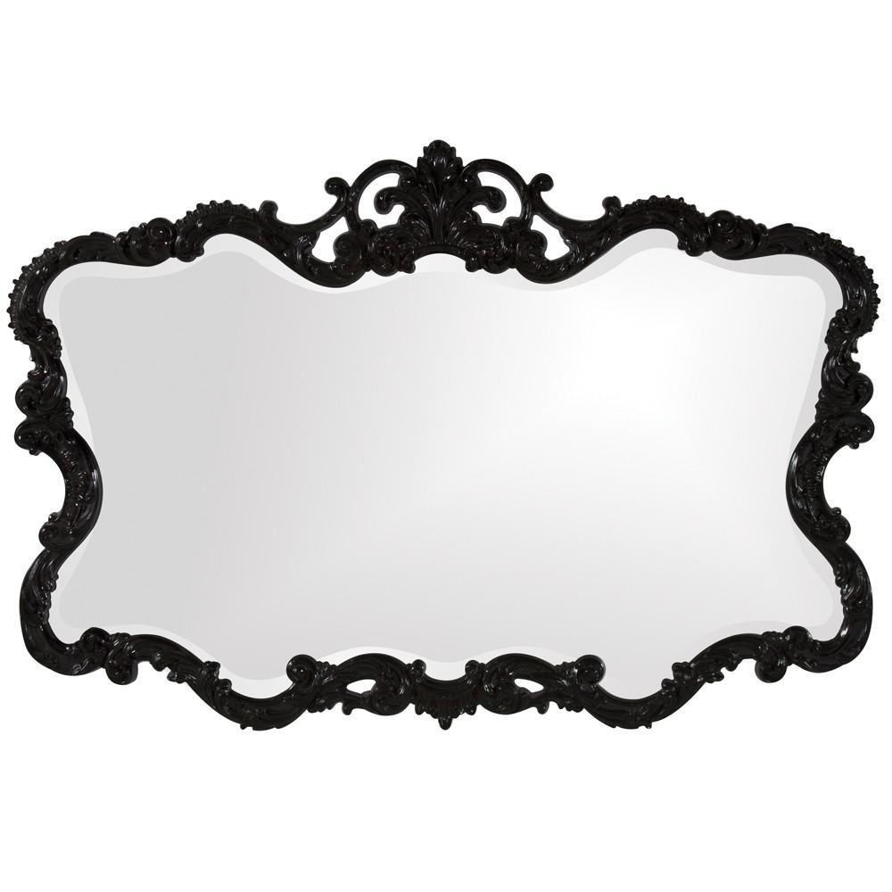 Scallop Mirror with Ornate Black Lacquer Frame - 384175. Picture 1