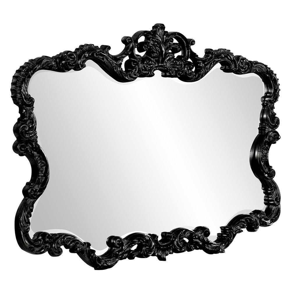 Scallop Mirror with Ornate Black Lacquer Frame - 384175. Picture 4