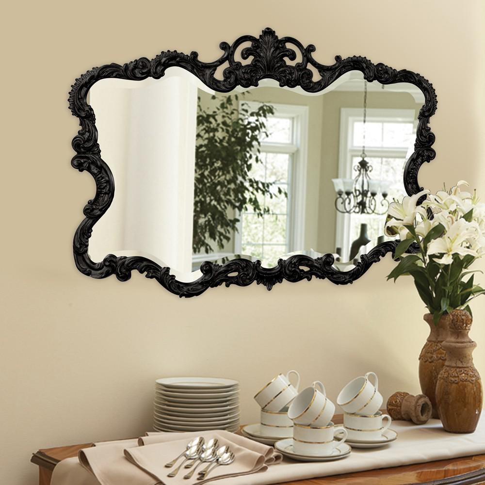 Scallop Mirror with Ornate Black Lacquer Frame - 384175. Picture 5