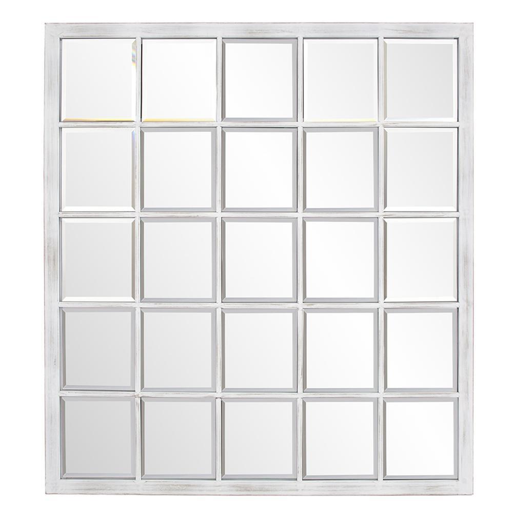 Rectangular Whitewash Window Pane Tile Mirror - 384180. Picture 1