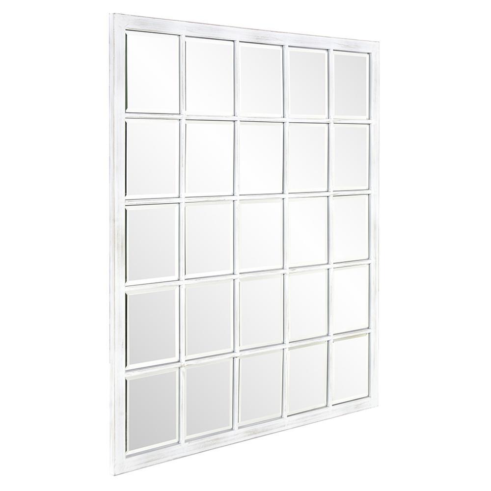 Rectangular Whitewash Window Pane Tile Mirror - 384180. Picture 3