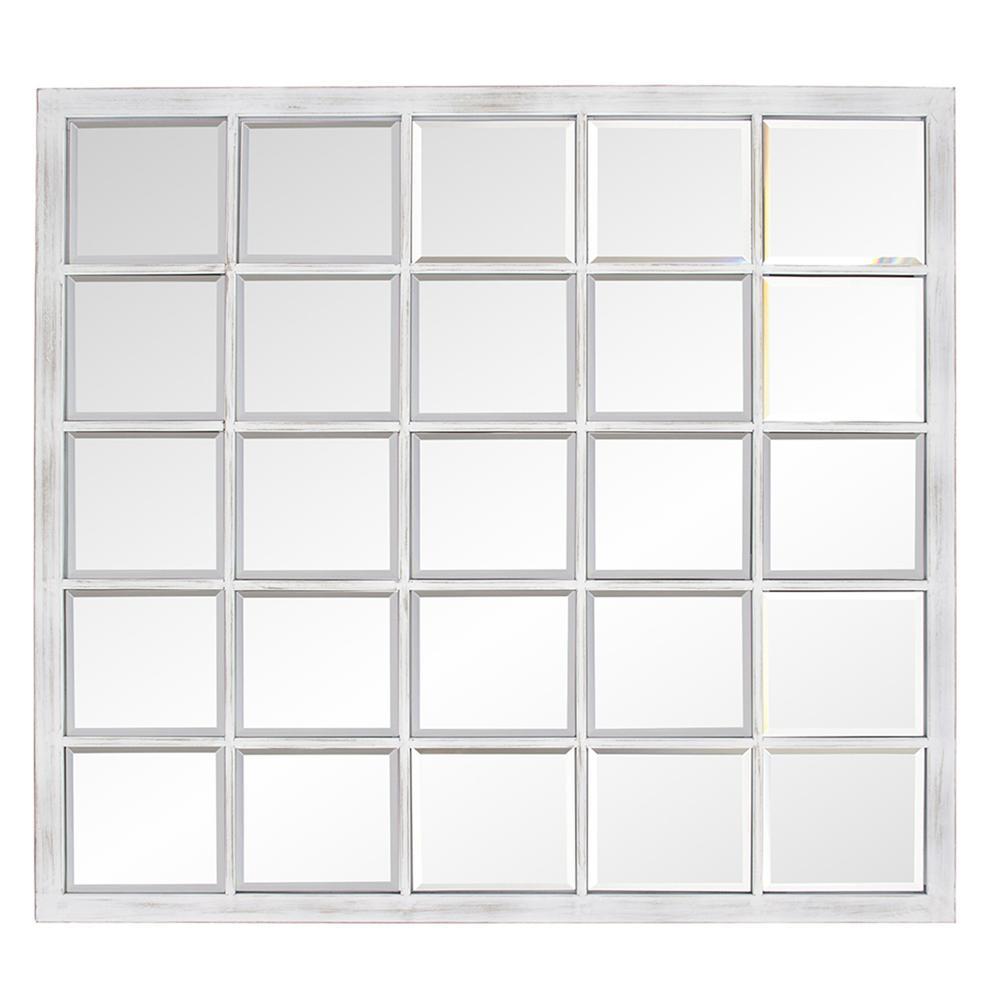 Rectangular Whitewash Window Pane Tile Mirror - 384180. Picture 4