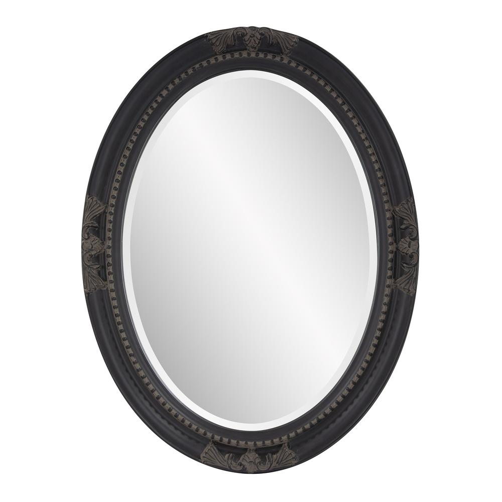 Oval Antiqued Black Wood Frame Mirror - 384183. Picture 1