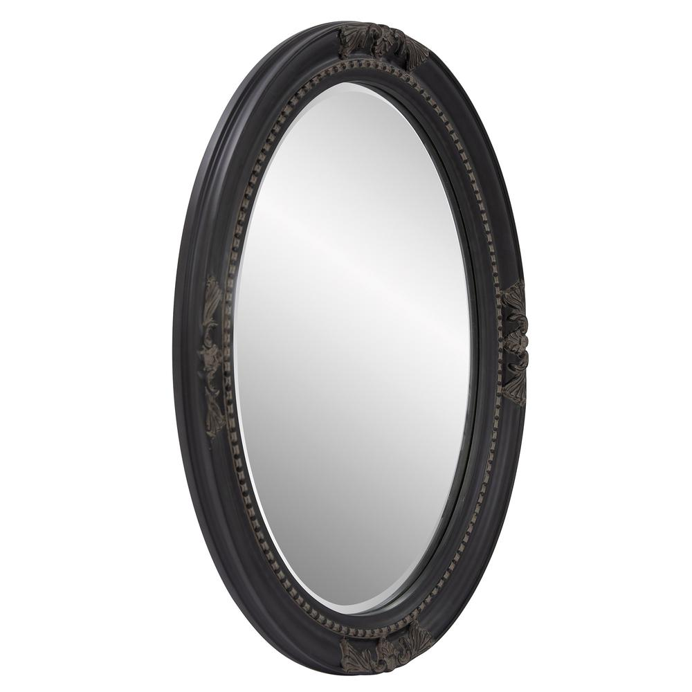Oval Antiqued Black Wood Frame Mirror - 384183. Picture 3