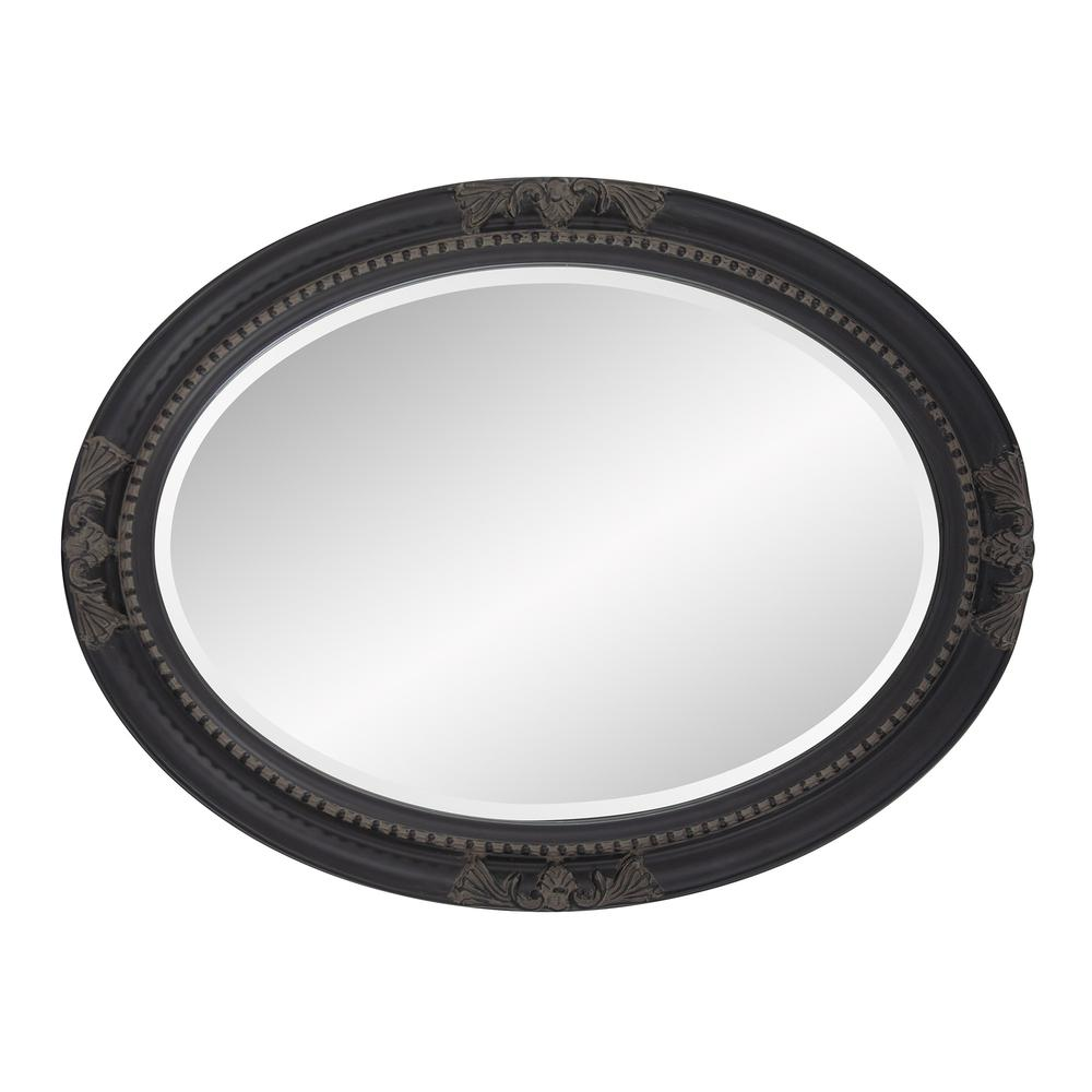 Oval Antiqued Black Wood Frame Mirror - 384183. Picture 4