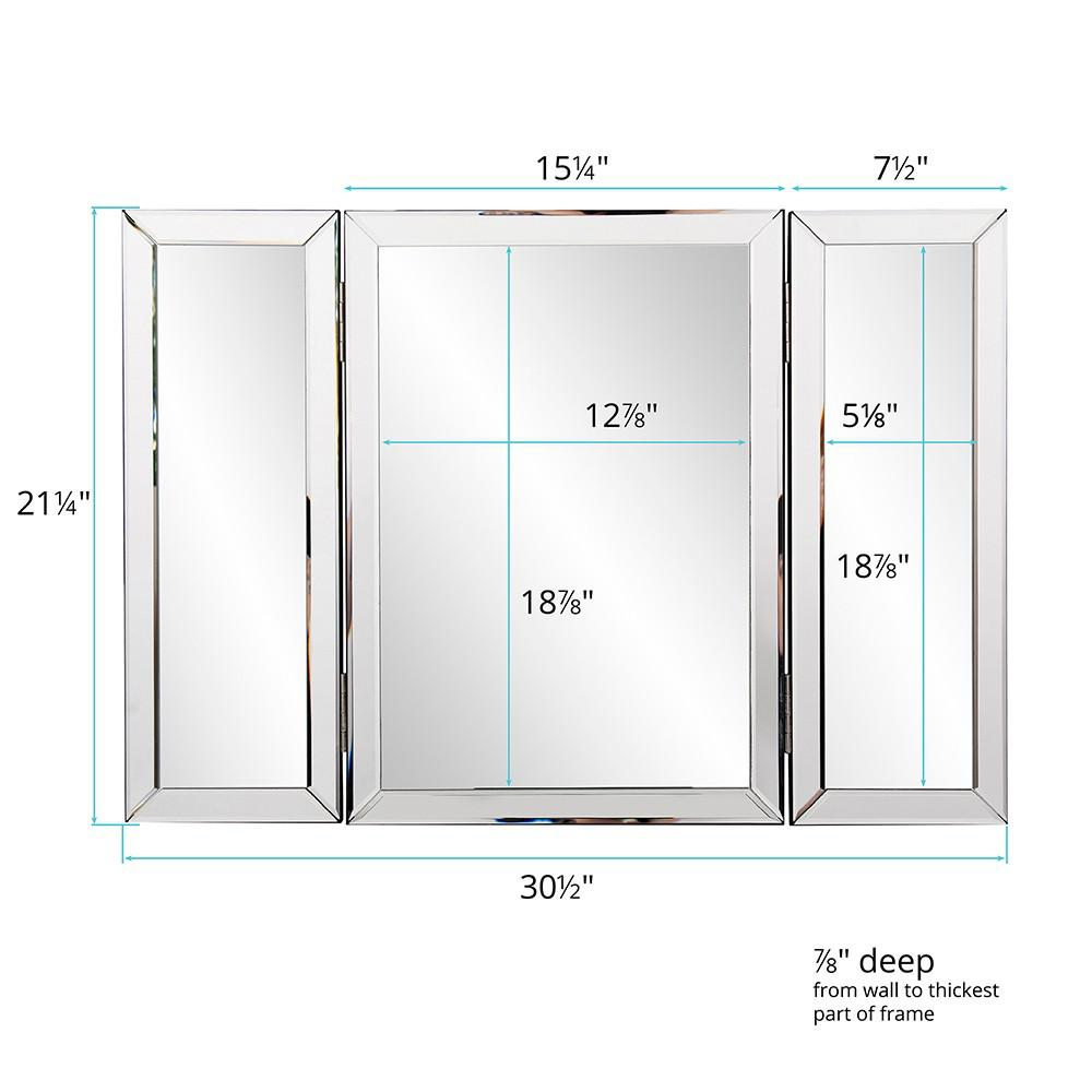 Three Part Hinged Vanity Tabletop Mirror - 384184. Picture 4