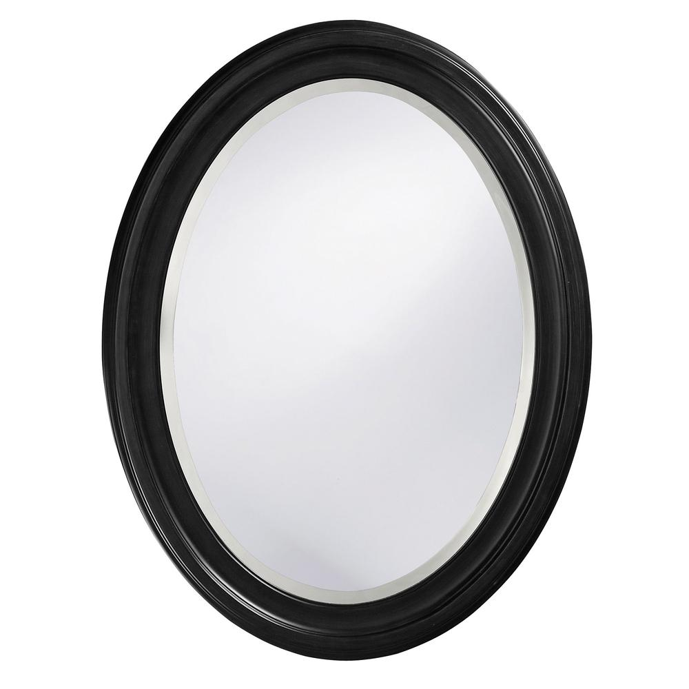 Oval Shaped Black Wood Frame Mirror - 384187. Picture 1