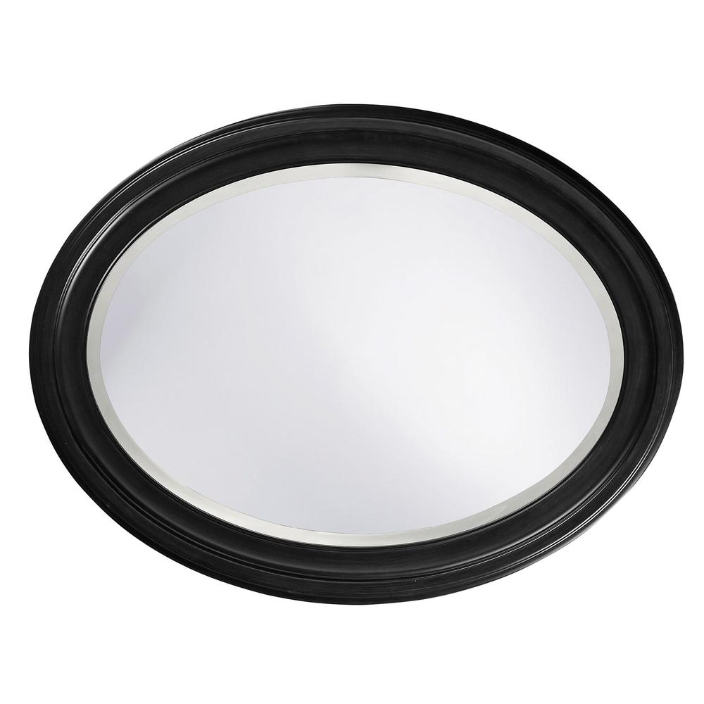 Oval Shaped Black Wood Frame Mirror - 384187. Picture 3