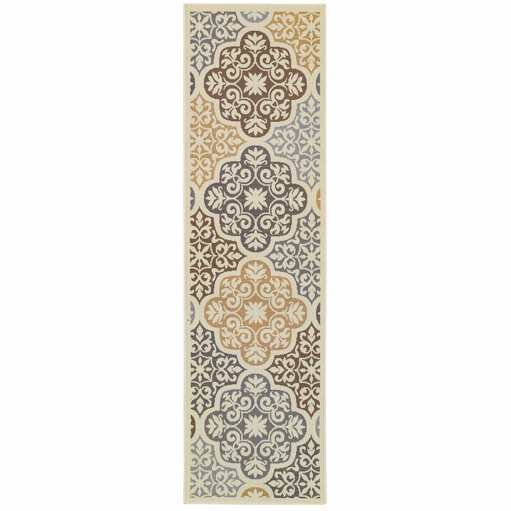 8' Ivory Grey Floral Medallion Indoor Outdoor Area Runner Rug - 384189. Picture 1