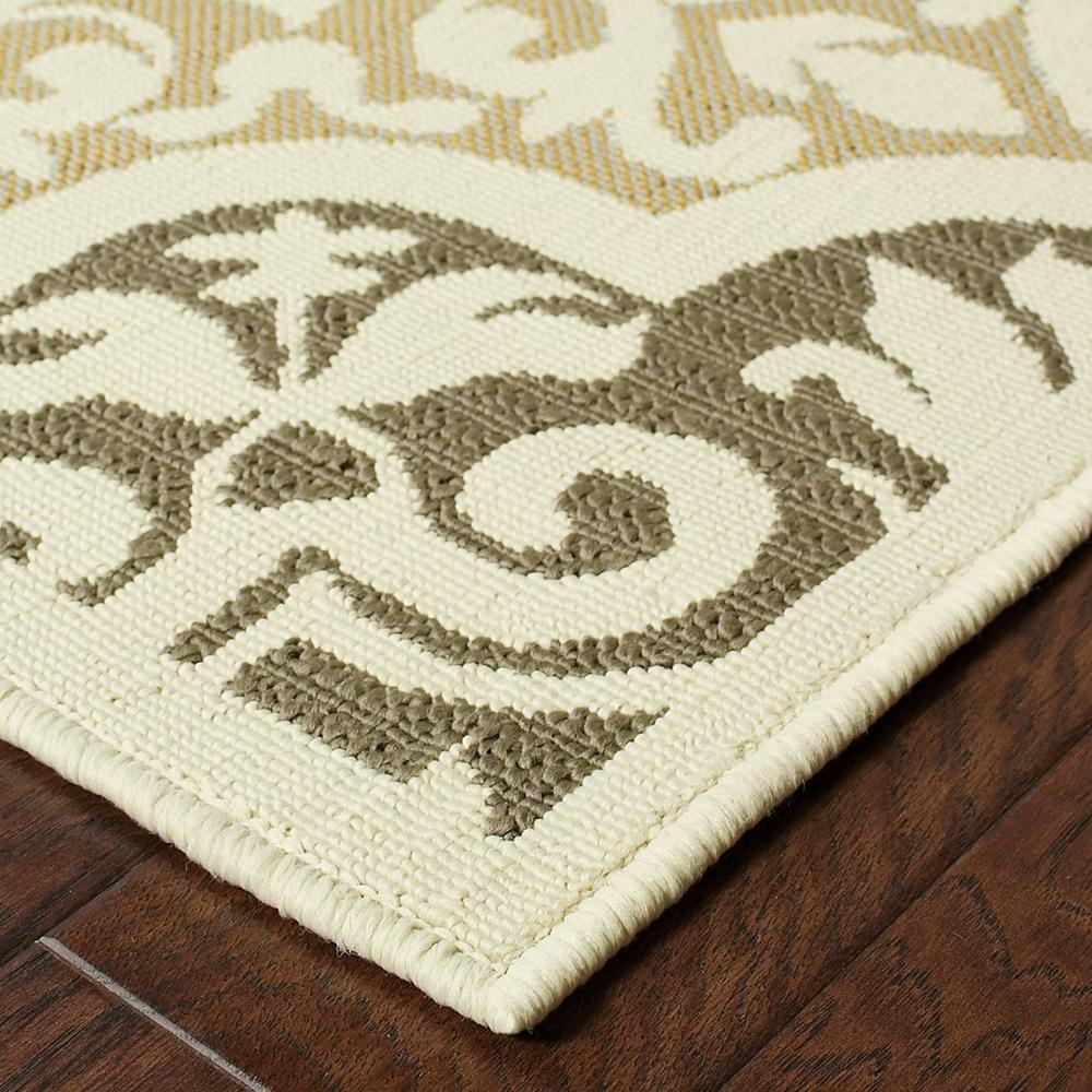 8' Ivory Grey Floral Medallion Indoor Outdoor Area Runner Rug - 384189. Picture 2