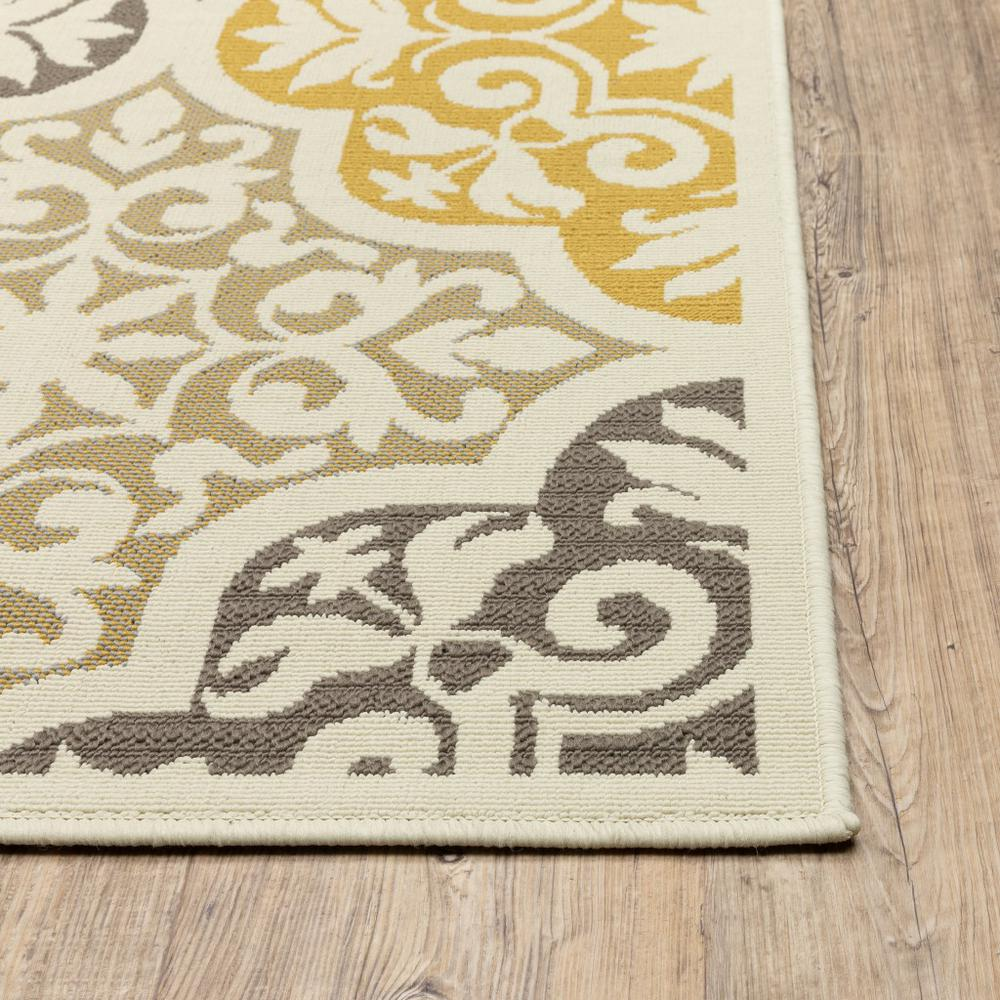 8' Ivory Grey Floral Medallion Indoor Outdoor Area Runner Rug - 384189. Picture 3