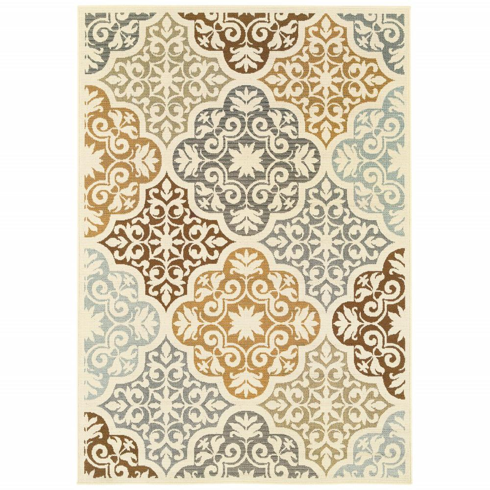9' x 13' Ivory Grey Floral Medallion Indoor Outdoor Area - 384196. Picture 1
