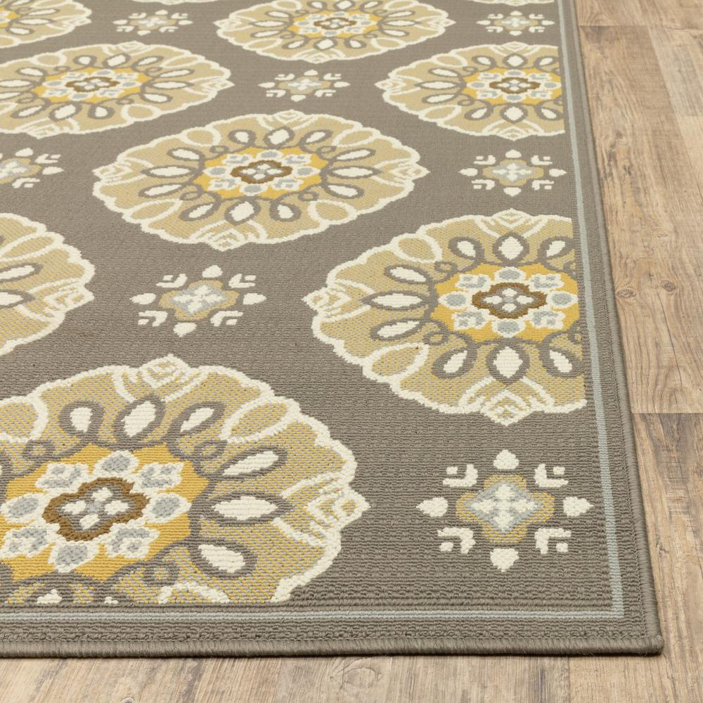 2' x 8' Grey Gold Floral Medallion Discs Indoor Outdoor Area Rug - 384198. Picture 3