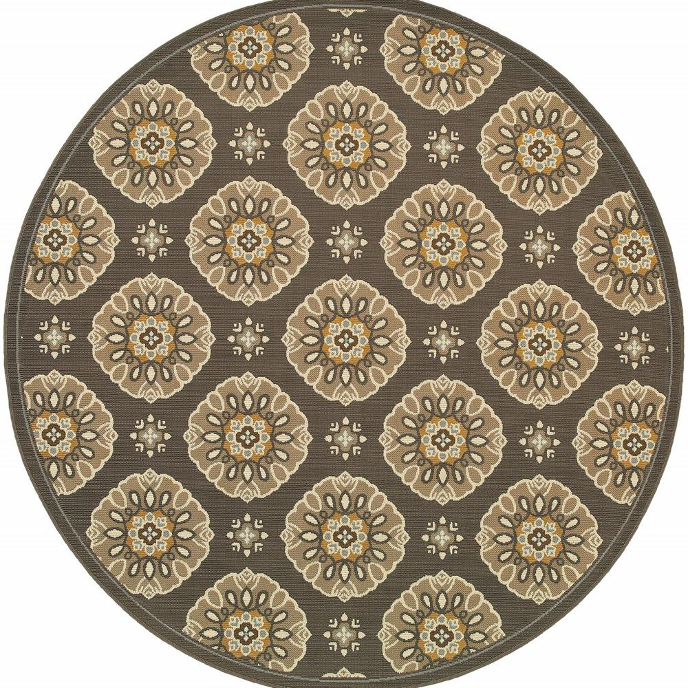 7' Grey Gold Floral Medallion Discs Indoor Outdoor Area Rug - 384203. Picture 1