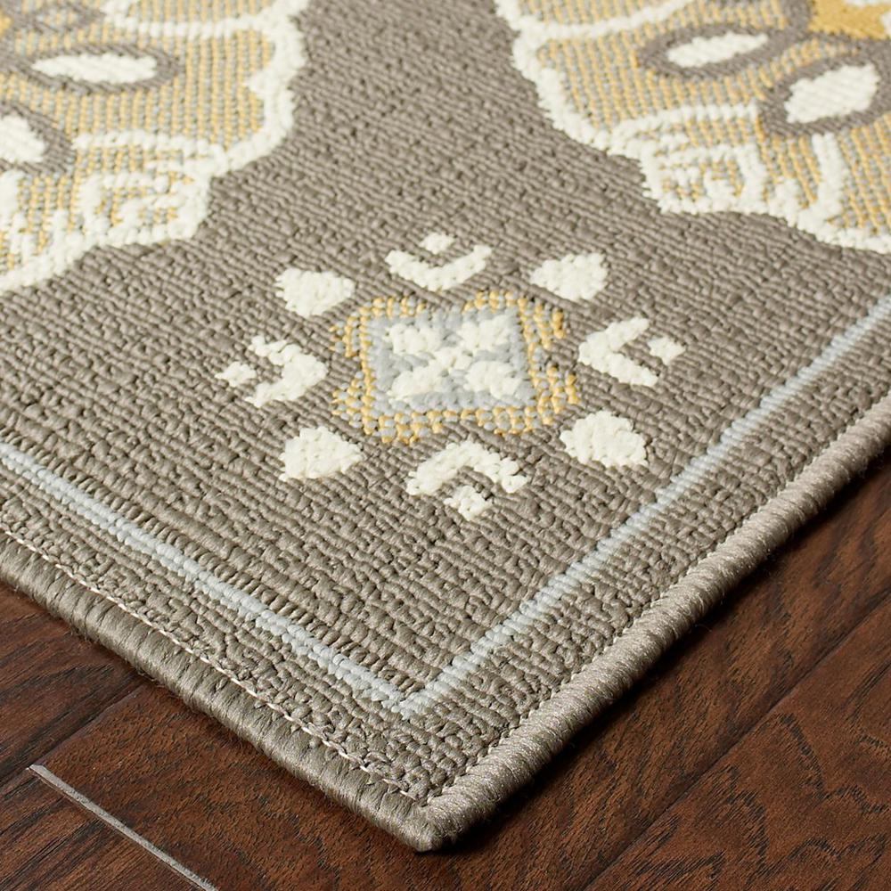 7' Grey Gold Floral Medallion Discs Indoor Outdoor Area Rug - 384203. Picture 2