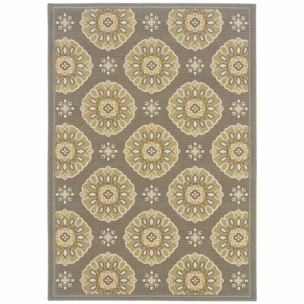 9' x 13' Grey Gold Floral Medallion Discs Indoor Outdoor Area Rug - 384204. Picture 1