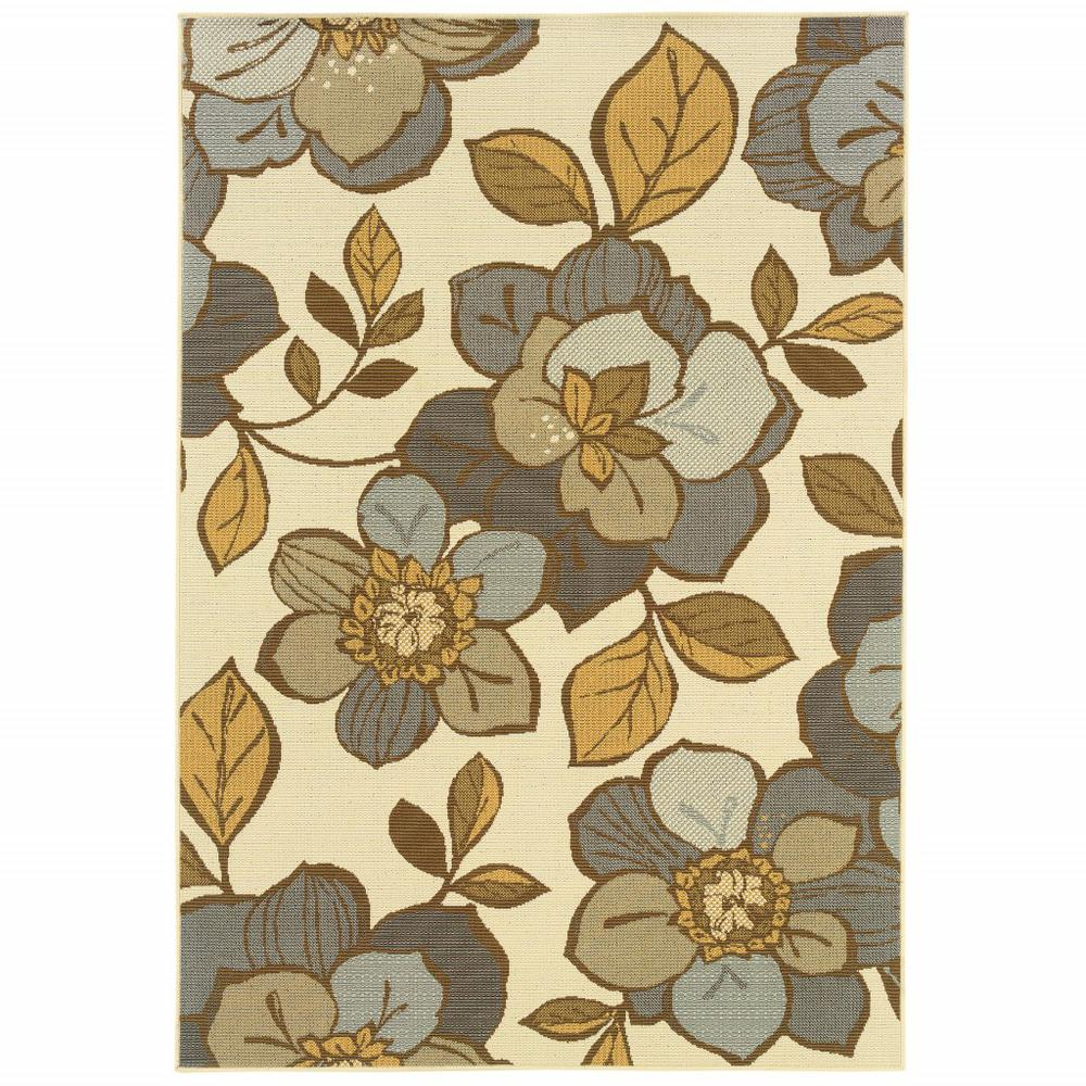 6' x 9' Ivory Gray Large Floral Blooms Indoor Outdoor Area Rug - 384209. Picture 1
