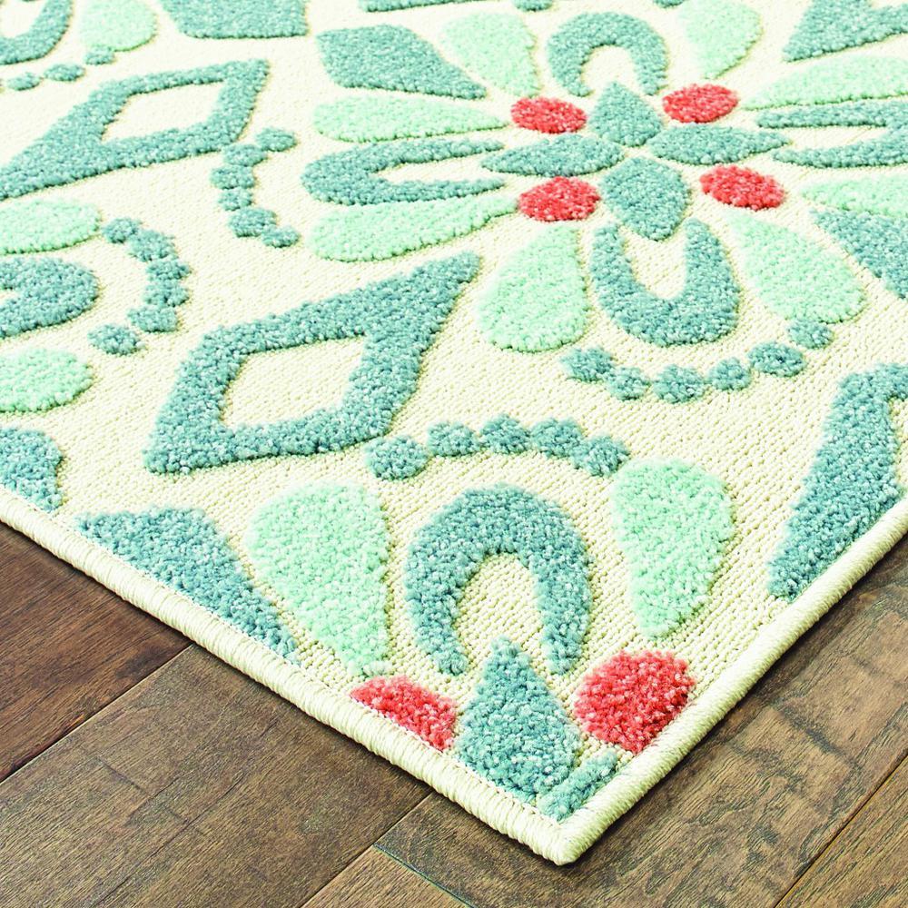 8' Ivory Blue Global Geo Tile Indoor Outdoor Runner Rug - 384213. Picture 2