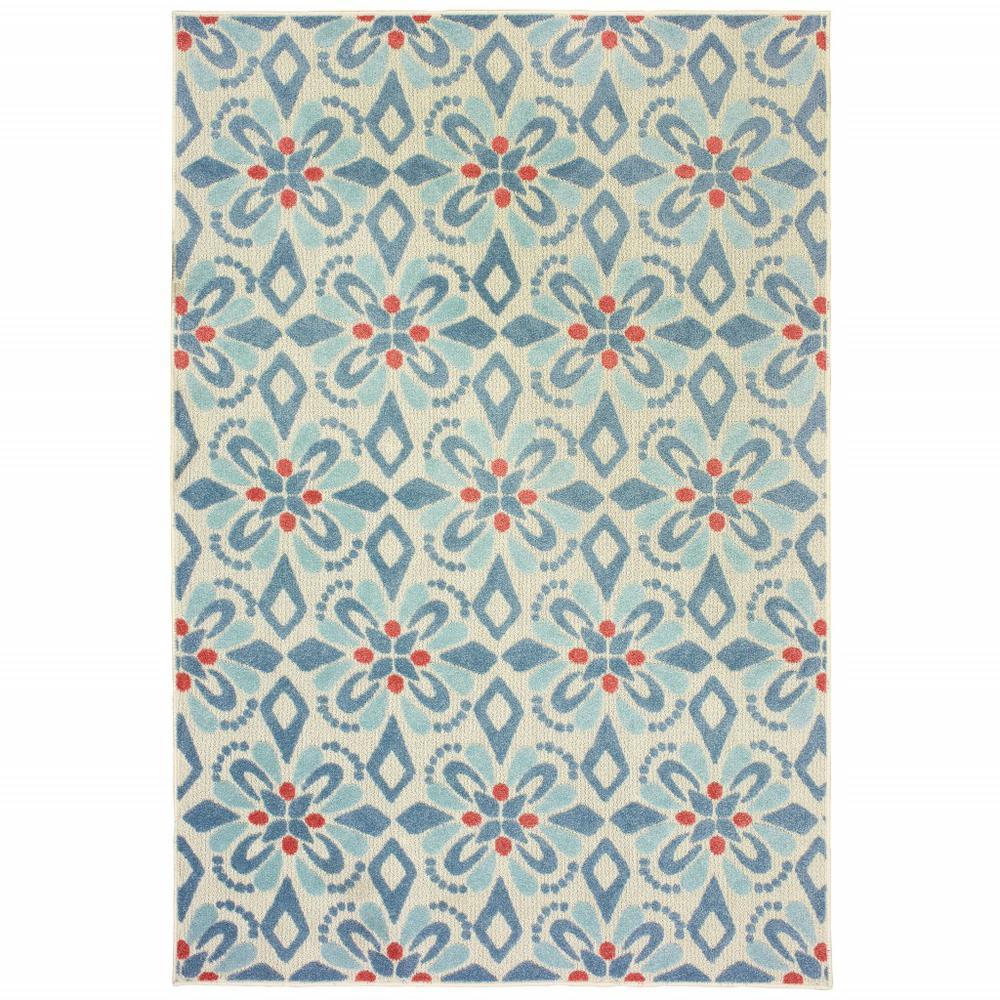 7' x 10' Ivory Blue Global Geo Tile Indoor Outdoor Runner Rug - 384217. Picture 1
