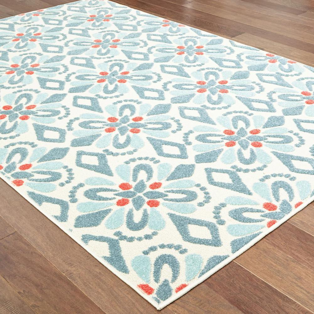 7' x 10' Ivory Blue Global Geo Tile Indoor Outdoor Runner Rug - 384217. Picture 3