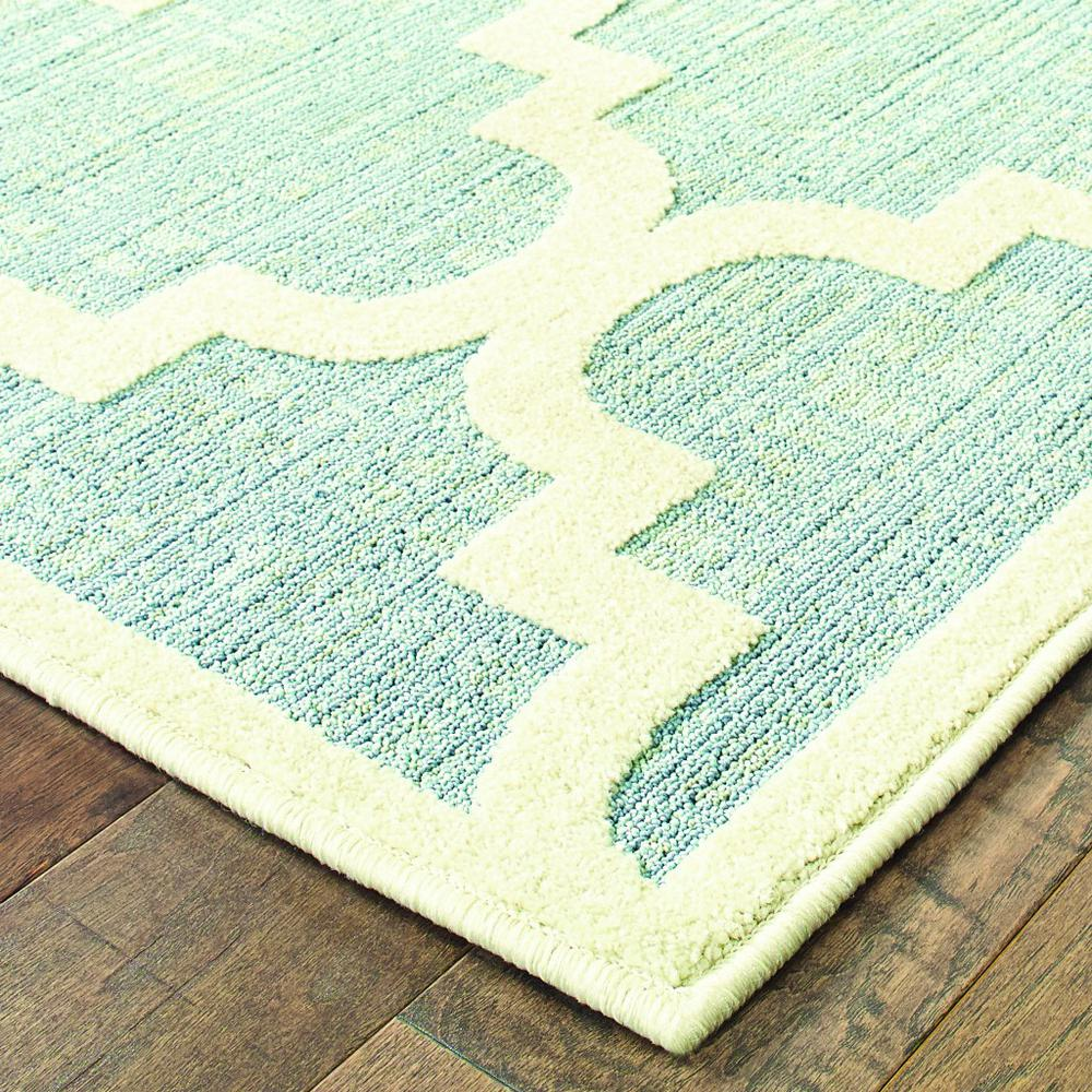 5' x 8' Blue Ivory Machine Woven Geometric Indoor or Outdoor Area Rug - 384221. Picture 2