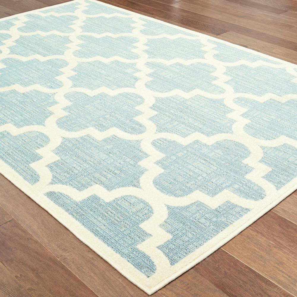 5' x 8' Blue Ivory Machine Woven Geometric Indoor or Outdoor Area Rug - 384221. Picture 3
