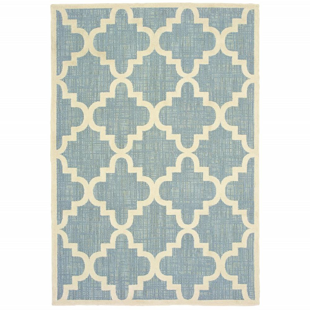 6' x 9' Blue Ivory Machine Woven Geometric Indoor or Outdoor Area Rug - 384222. Picture 1