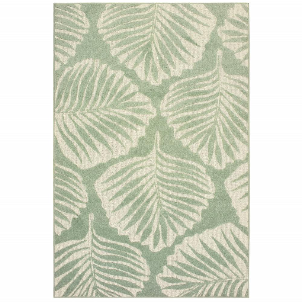 7' x 10' Tropical Light Green Ivory Palms Indoor Outdoor Rug - 384229. Picture 1