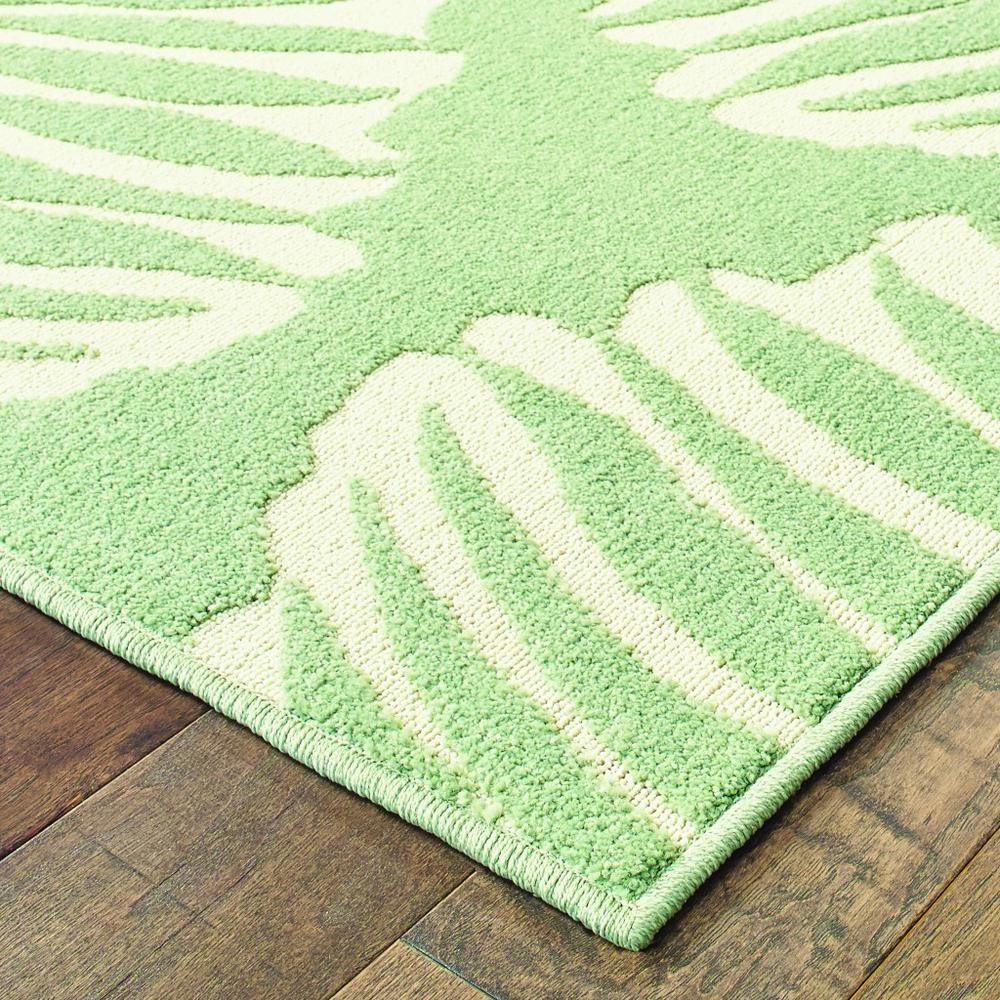 7' x 10' Tropical Light Green Ivory Palms Indoor Outdoor Rug - 384229. Picture 2